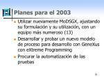 planes para el 2003
