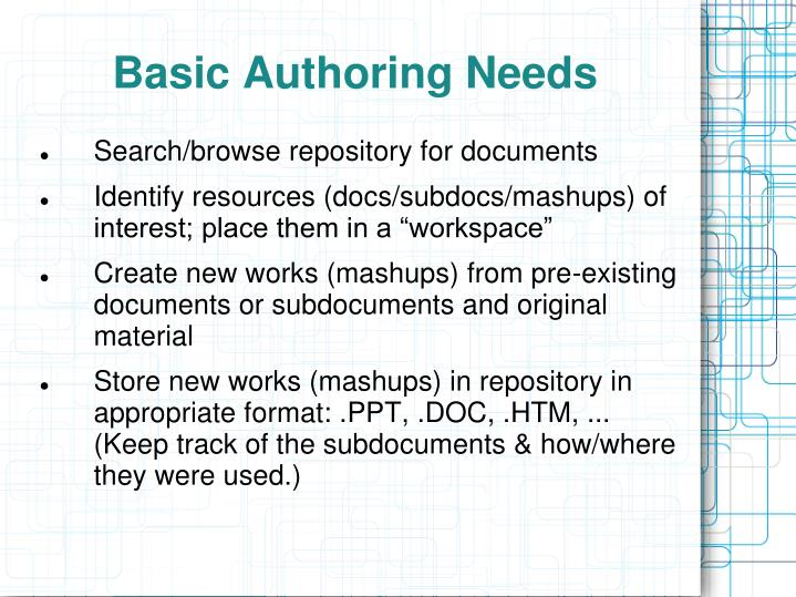 Basic Authoring Needs