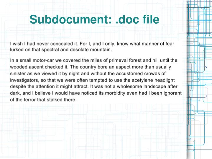 Subdocument: .doc file
