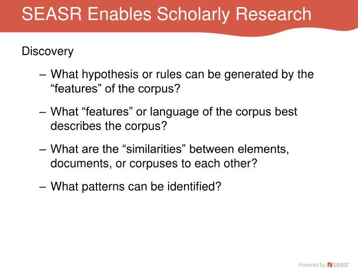 SEASR Enables Scholarly Research