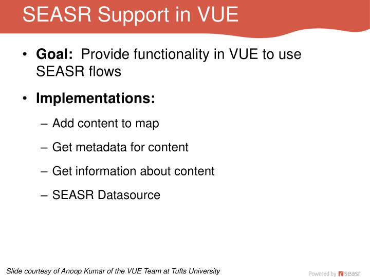 SEASR Support in VUE