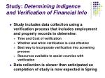 study determining indigence and verification of financial info1