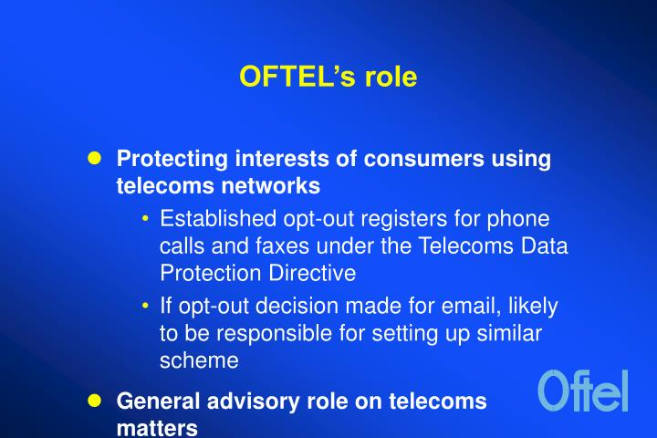 Oftel s role