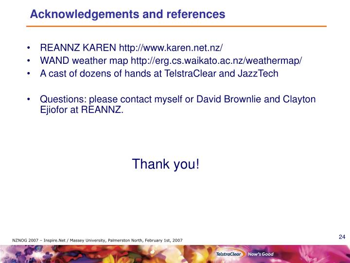 Acknowledgements and references
