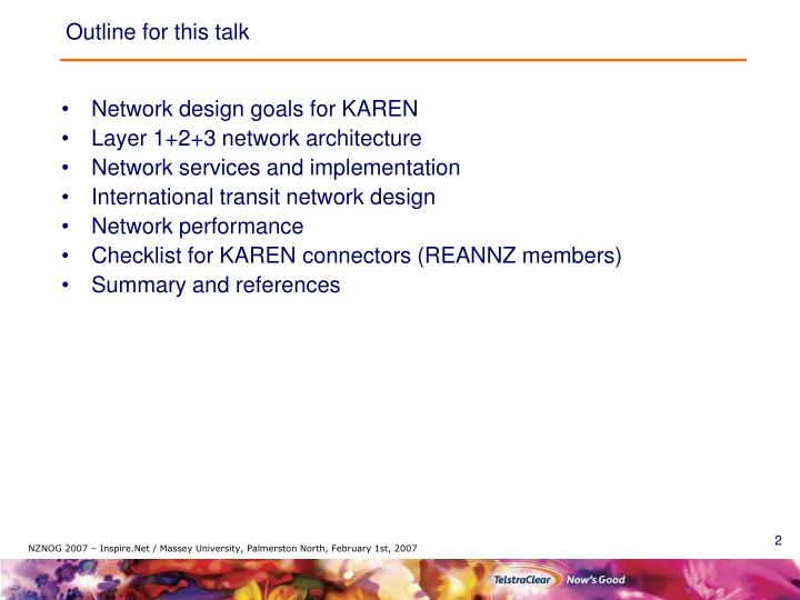 Outline for this talk
