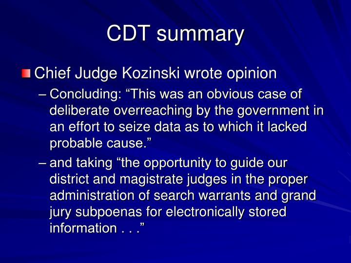 CDT summary