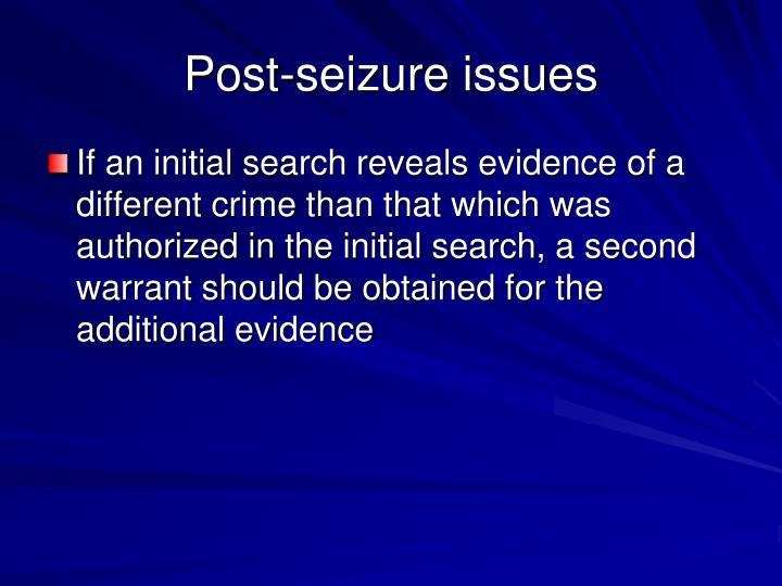 Post-seizure issues