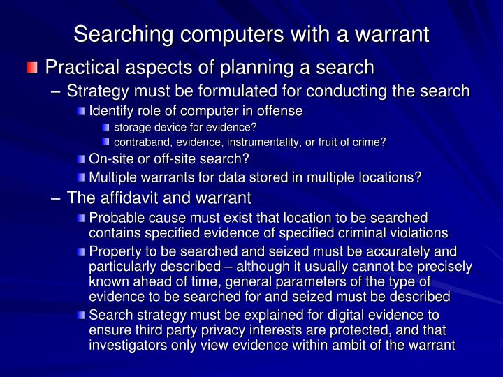 Searching computers with a warrant