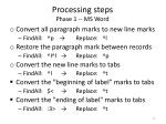 processing steps phase 1 ms word