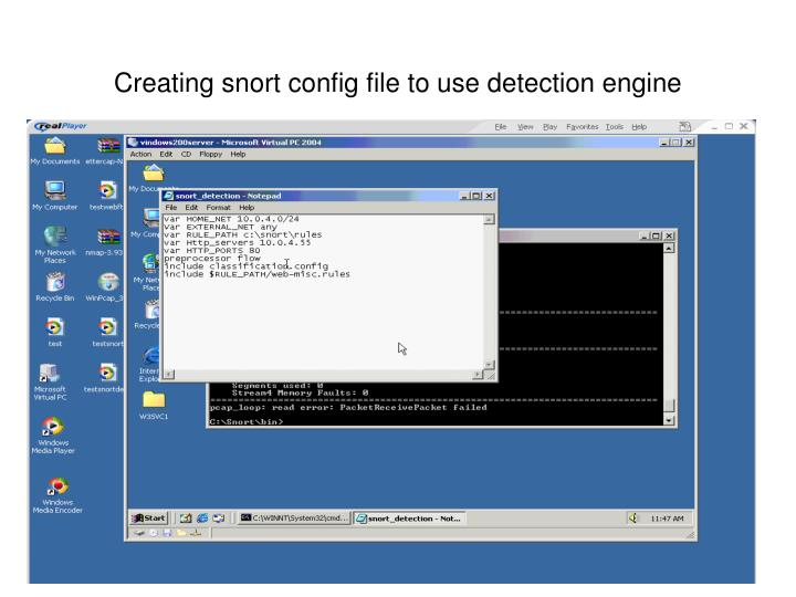 Creating snort config file to use detection engine