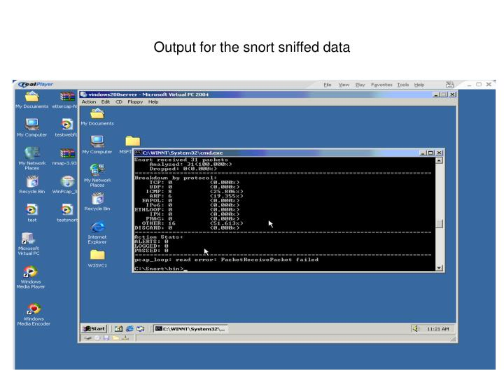 Output for the snort sniffed data