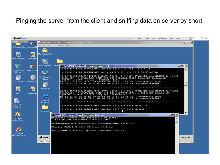 Pinging the server from the client and sniffing data on server by snort.