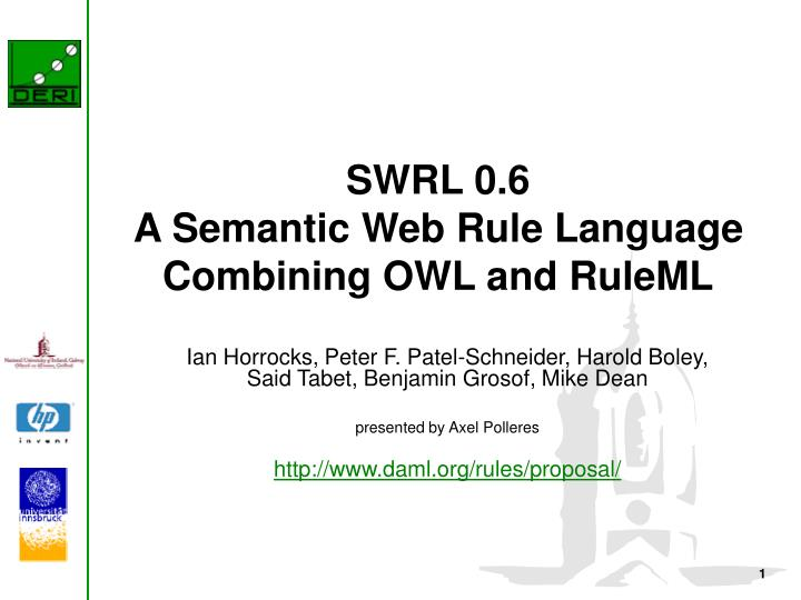 Swrl 0 6 a semantic web rule language combining owl and ruleml