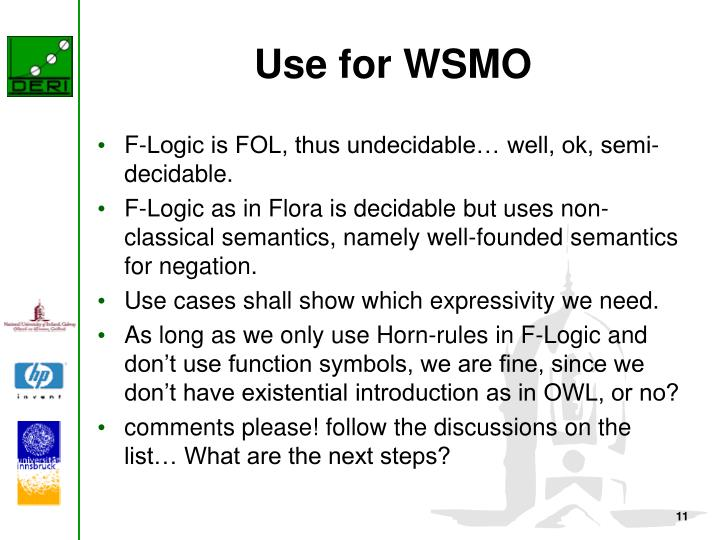 Use for WSMO