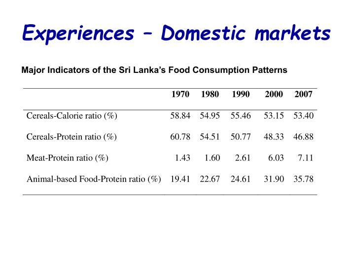 Experiences – Domestic markets