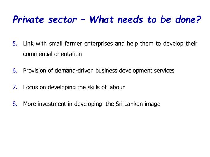 Private sector – What needs to be done?