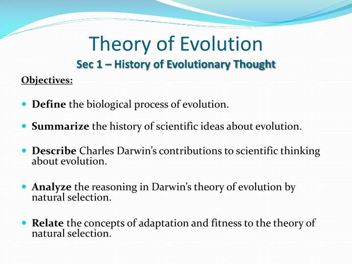 Theory of evolution sec 1 history of evolutionary thought
