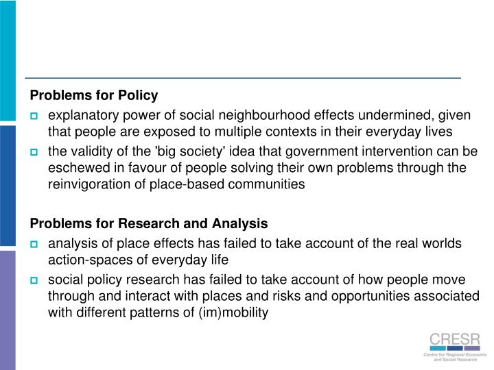 Problems for Policy