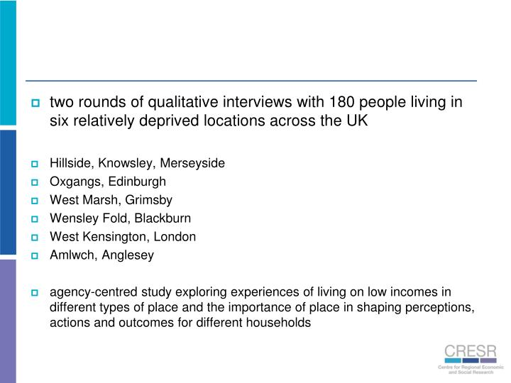 two rounds of qualitative interviews with 180 people living in six relatively deprived locations across the UK