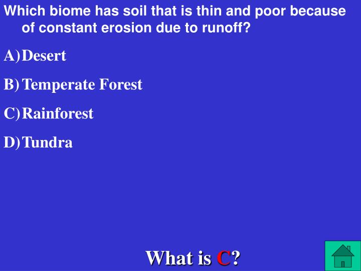 Which biome has soil that is thin and poor because of constant erosion due to runoff?