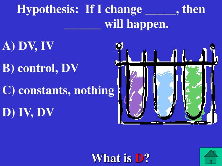 Hypothesis:  If I change _____, then ______ will happen.