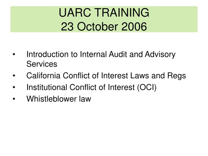 uarc training 23 october 2006