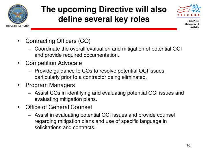 The upcoming Directive will also define several key roles