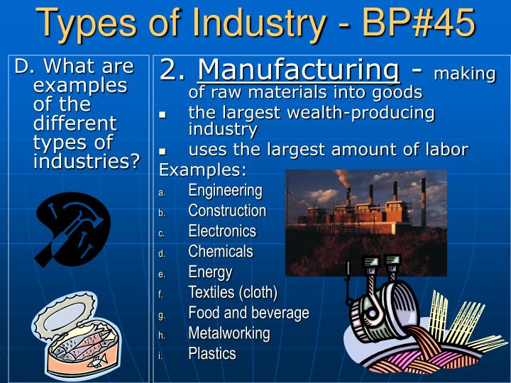 D. What are examples of the different types of industries?