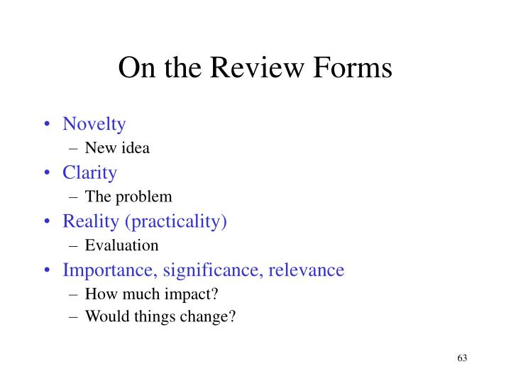 On the Review Forms
