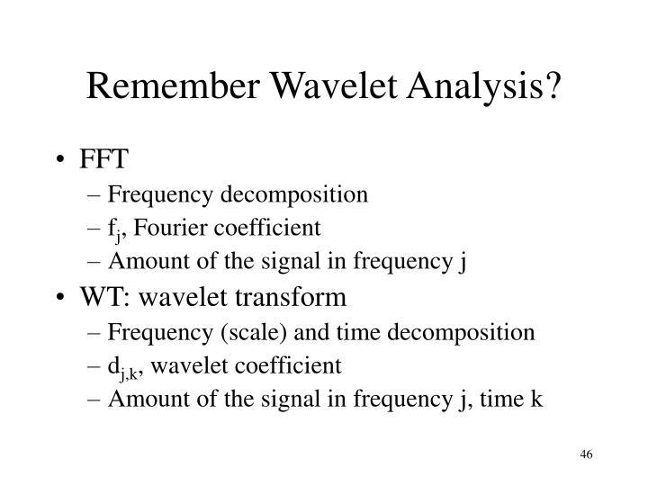 Remember Wavelet Analysis?