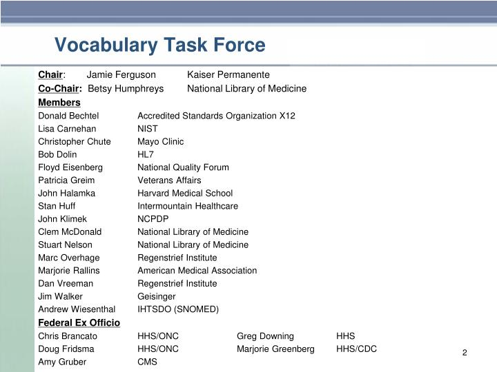 Vocabulary task force