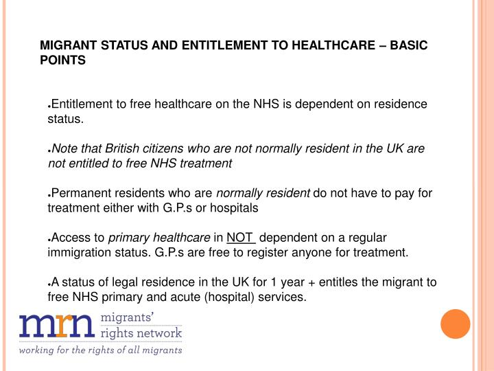 MIGRANT STATUS AND ENTITLEMENT TO HEALTHCARE – BASIC POINTS