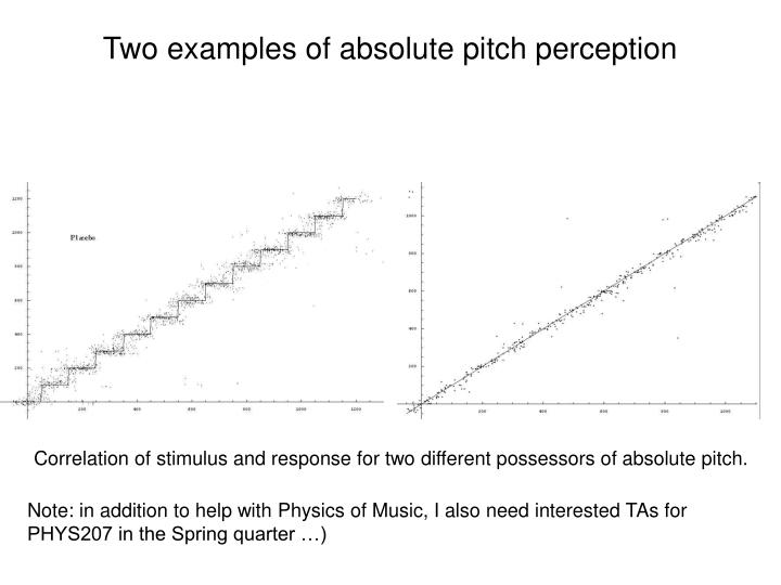 Two examples of absolute pitch perception