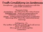 truth conditions in sentences