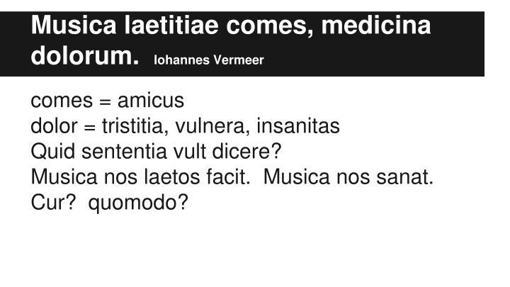 Musica laetitiae comes, medicina dolorum.