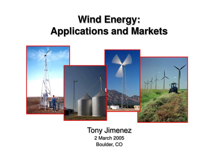 wind energy applications and markets n.