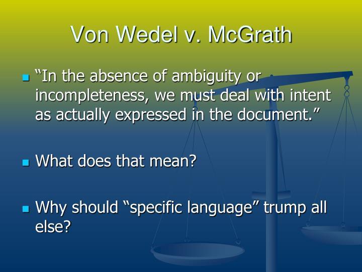 Von Wedel v. McGrath
