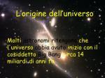 l origine dell universo