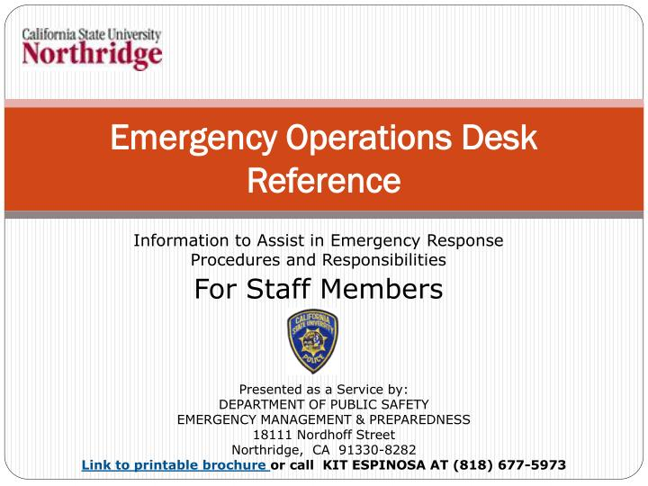 emergency operations desk reference n.