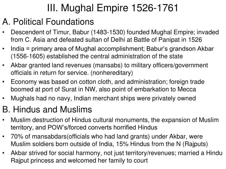 III. Mughal Empire 1526-1761