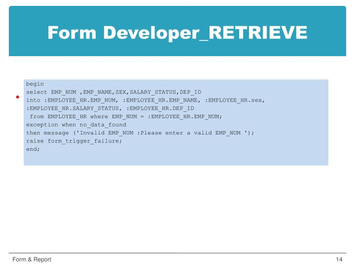 Form Developer_RETRIEVE
