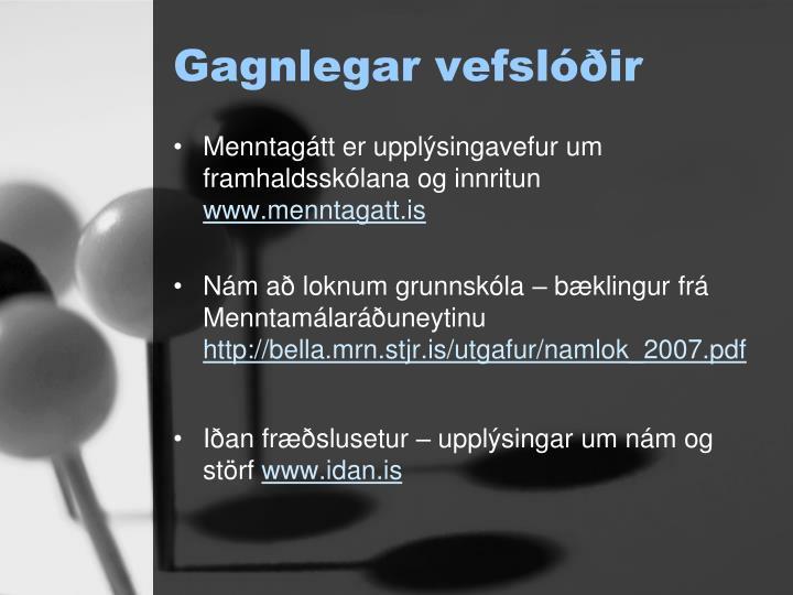 Gagnlegar vefslóðir