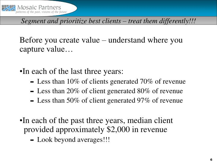 Segment and prioritize best clients – treat them differently!!!