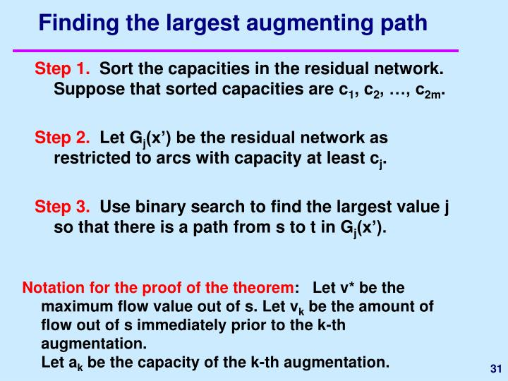 Finding the largest augmenting path