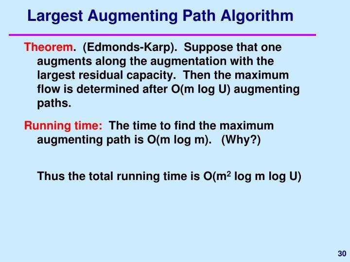 Largest Augmenting Path Algorithm
