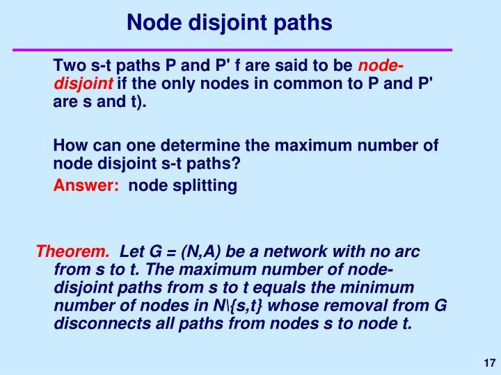 Node disjoint paths