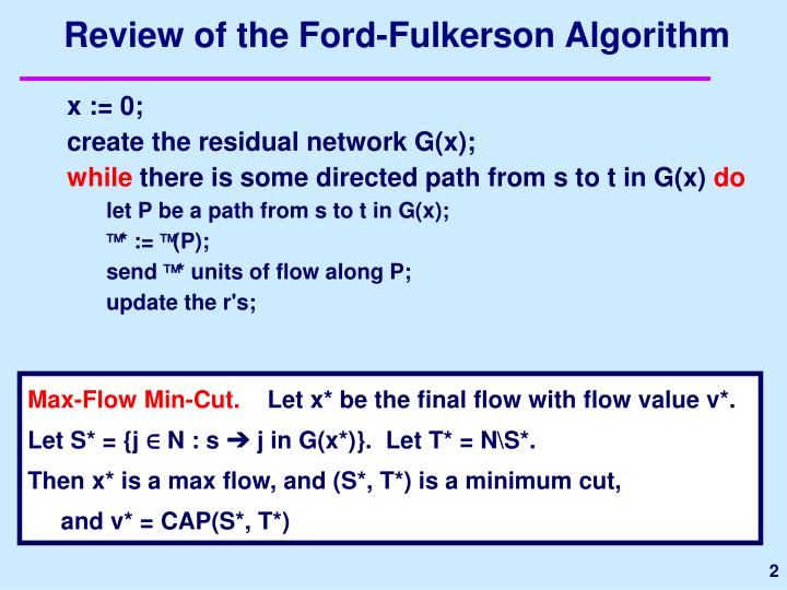 Review of the ford fulkerson algorithm