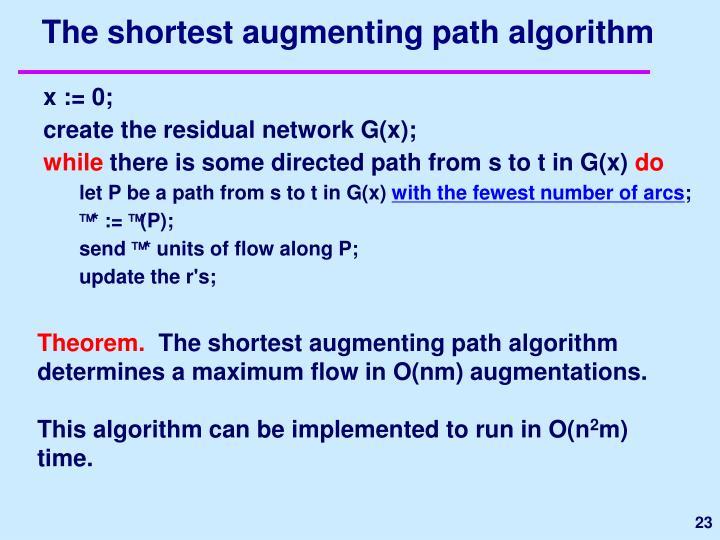 The shortest augmenting path algorithm