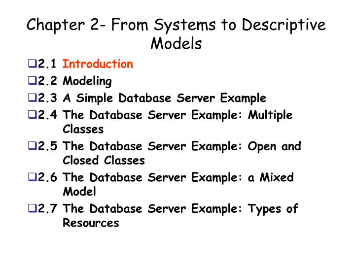 chapter 2 from systems to descriptive models n.