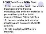 acsm task force tors cont
